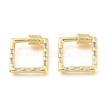 Brass Micro Pave Cubic Zirconia Screw Carabiner Lock Charms, for Necklaces Making,  Square, Golden, Clear, 18.5x19.5x4.5mm(KK-M206-20G-01)