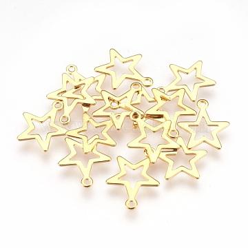 304 Stainless Steel Pendants, Star, Golden, 14.5x12.5x0.6mm, Hole: 1.2mm(X-STAS-G176-27G)