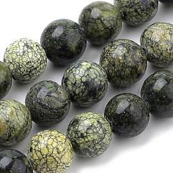 """Perles en pierre de serpentine naturelle / dentelle verte, rond, 8mm, trou: 1mm; environ 50 pcs/chapelet, 15.7""""(G-S259-15-8mm)"""
