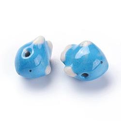 Perles de porcelaine imprimées manuelles, poisson, Bleu ciel, 16~17x13~14x11~12mm, Trou: 1.8mm(PORC-E015-02B)