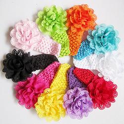 Эластичные детские повязки, девушки цветка аксессуары для волос, разноцветные, 100 мм(OHAR-S114-M03)