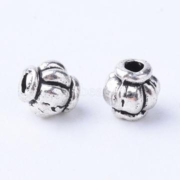 Tibetan Style Alloy Spacer Beads, Lantern, Cadmium Free & Nickel Free & Lead Free, Antique Silver, 4x4mm, Hole: 1mm(X-TIBE-Q063-55AS-NR)