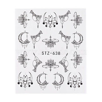 наклейки для ногтей, самоклеящийся, для украшения ногтей, черный, 6.3x5.2 cm(X-MRMJ-Q042-C04)