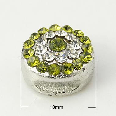 10mm Round Alloy+Rhinestone Beads