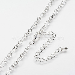 Iron Figaro Chain Necklace Making, with Alloy Lobster Claw Clasps and Iron End Chains, Silver Color Plated, 29.9 inches(76cm)(MAK-J004-36S)