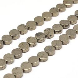 """Rondes plat perles de pyrite naturelle brins, 6x3mm, trou: 1mm; environ 64 pcs/chapelet, 15.7""""(G-I125-19C)"""