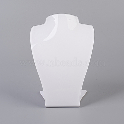 Organic Glass Jewelry Earring and Necklace Bust Displays, White, 15x11x7.25cm(ODIS-G013-01)