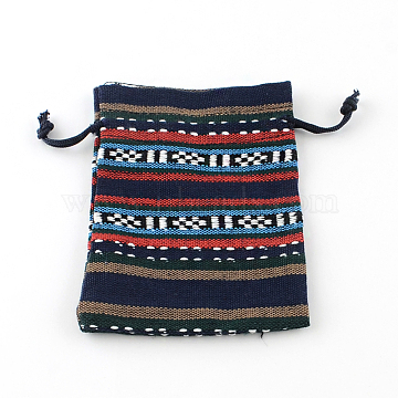 Ethnic Style Cloth Packing Pouches Drawstring Bags, Rectangle, Prussian Blue, 14x10cm(X-ABAG-R006-10x14-01A)