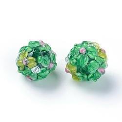 Fait main perles au chalumeau cahoteuses, rond, verte, 12~13mm, Trou: 1.5~1.6mm(LAMP-E021-06G)