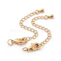 Rallonge de chaîne en laiton plaqué longue durée, avec des agrafes de pince de homard et des pointes de perle, véritable 24k plaqué or, 12x7x3mm, trou: 3.5mm; étendre la chaîne: 65mm; anneau: 5x1mm(X-KK-F711-09G)