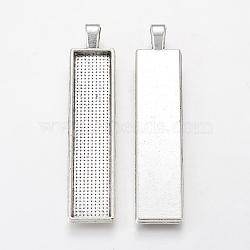 Alliage grand pendentif cabochon supports, cuvettes à bord droit, rectangle, argent antique, plateau: 50x10 mm; 60.5x13x2.7 mm, Trou: 3.5x5.5mm(X-PALLOY-WH0037-02AS)