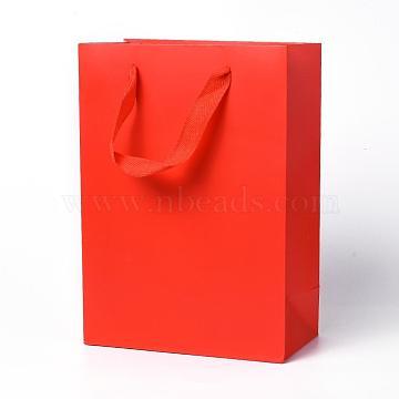 Sacs en papier kraft, avec poignées, sacs-cadeaux, sacs à provisions, rectangle, rouge, 28x20x10.1 cm(AJEW-F005-03-C)