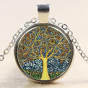 Flat Round with Tree Glass Alloy Pendant Necklaces, Silver Color Plated, 17.7 inches(NJEW-N0051-047H-02)