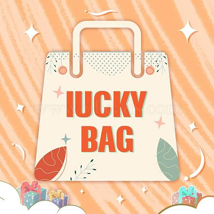 Luck Bag, include Glitter Imitation Leather Pendants, Imitation Woven Rattan Pattern Cellulose Acetate Resin Charms,  Dyed Wood Charms, Mixed Color, 10~105mm