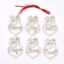 Wooden Pendant Decorations, with Ribbon, Pendant Hollow Out Ornaments, for Christmas Decoration, BlanchedAlmond, 97.5~98x68x2mm, Hole: 2mm; 6pcs/set(X-AJEW-WH0110-01)