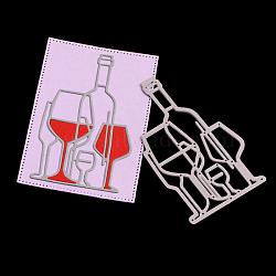 Cadre en verre de vin coupe en acier au carbone meurt pochoirs, pour bricolage scrapbooking / album photo, carte de papier de bricolage décoratif, mat platine, 9x5.6x0.08 cm(DIY-F028-76)