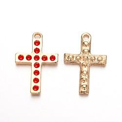 Pendentifs croix en émail plaqué or clair, rouge, 27x18x2mm, Trou: 2mm(ENAM-J544-02KCG)