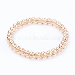 """Bracelets stretch avec perles en verre, rond, marron, 2-1/8"""" (54 mm)(BJEW-E290-03A)"""