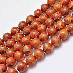 Natural Tibetan Turtle Back Pattern dZi Agate Beads Strands, Round, Dyed & Heated, Orange, 10mm, Hole: 1.5mm; about 35pcs/strand, 13.9inches(G-F354-21)