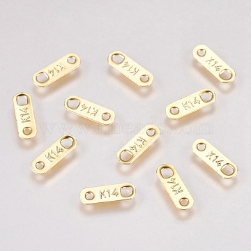 304 Stainless Steel Links connectors, Carved K14, Oval, Golden, 11x3.5x0.5mm, Hole: 0.8mm(STAS-G173-18G)