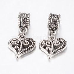 Perles européennes en alliage de style tibétain, Pendentifs grand trou, coeur creux, argent antique, 25mm, pendentif: 14x13.5x3 mm, Trou: 4.5mm(PALLOY-F199-29AS)