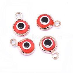 Breloques vernissées de mauvais œil manuelles, avec les accessoires en laiton, plat rond, rouge, Véritable plaqué or rose, 10x6.5x3mm, Trou: 1.5mm(KK-F764-13RG-02)
