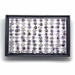 Bagues améthyste naturelles, avec les accessoires en alliage, taille mixte, 16~19 mm; 100 pcs / boîte(G-S217-09-B)