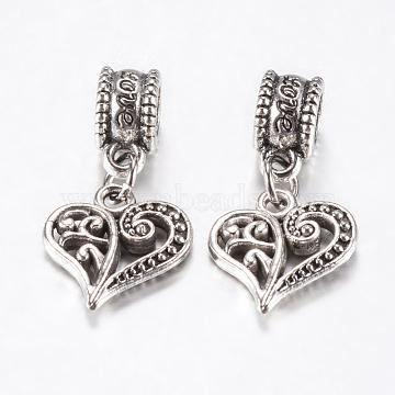 25mm Heart Alloy Dangle Beads