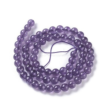 Natural Amethyst Beads Strands, Round, 6mm, Hole: 1mm, about 64~67pcs/strand, 15.3 inches~15.75 inches(39~40cm)(G-P428-08-6mm)