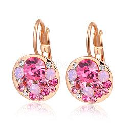 Véritable or rose mode plaqué alliage d'étain cristal autrichien leverback boucles d'oreilles, 209 _Rose, 23x13mm(EJEW-AA00057-49)