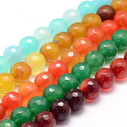 Natural Agate Bead Strands, Round, Faceted, Dyed & Heated, Mixed Color, 6mm, Hole: 1mm; about 62~63pcs/strand, 14.5inches