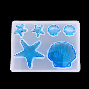 Silicone Molds, Resin Casting Molds, For UV Resin, Epoxy Resin Jewelry Making, Marine Organism, White, 85x61mm(X-DIY-F024-04B)