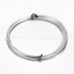 Fil de métier en aluminium, pour la fabrication de bijoux en perles, argenterie, 20 jauge, 0.8mm, environ 10 m / bibone (X-AW-D009-0.8mm-10m-01)