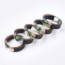 кольца из эпоксидной смолы и черного дерева, с сухой травой, Золотая фольга, зеленый, 17 mm(RJEW-S043-03B-02)