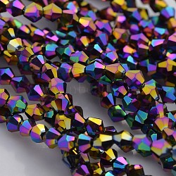 Faceted Bicone Electroplate Glass Beads Strands, Full Rainbow Plated, Indigo, 4x4mm, Hole: 1mm, about 115~118pcs/strand, 18.5 inches(X-EGLA-P016-4mm-F03)