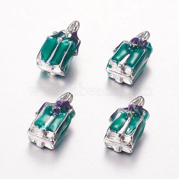 Platinum Green Box Alloy + Enamel Charms