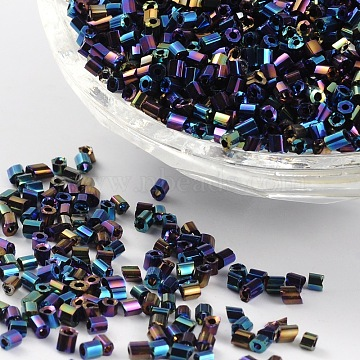 Seed Beads, Hexagon, Two Cut, 11/0, Green, about 2mm long, 2mm wide, hole: 0.5mm, about 4500pcs/50g(X-CSDB705)