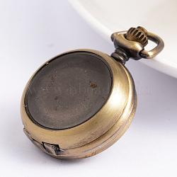 montre d'alliage tête, plat rond, bronze antique, 40x29.5x12 mm(X-WACH-D016-01)