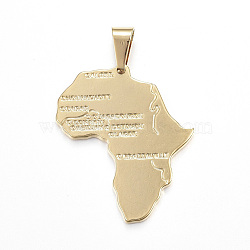 304 Stainless Steel Pendants, Africa Map, Golden, 35x30x2mm, Hole: 4.5x7.5mm