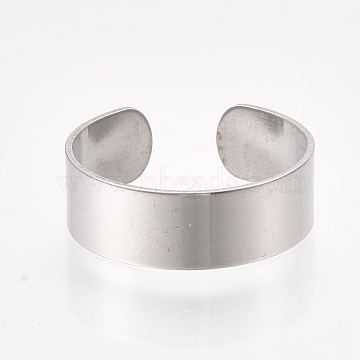 304 Stainless Steel Cuff Rings, Open Rings, Wide Band Rings, Stainless Steel Color, Size 8, 18mm; 6mm(X-STAS-T045-22A-P)