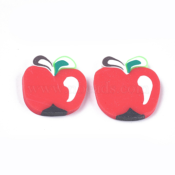 Handmade Polymer Clay Cabochons, Apple, Red, 19~20x17~18x2~3mm(CLAY-S091-43)