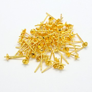 Environmental Brass Stud Earring Findings, for Half Drilled Beads, Cadmium Free & Nickel Free & Lead Free, Golden, 14x4mm; Pin: 0.8mm(X-KK-M163-03G-NR)