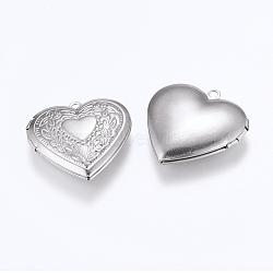 304 подвески из нержавеющей стали Locket, фото подвески рамка для ожерелья, сердце, цвет нержавеющей стали, 29x29x6.5 мм, отверстия: 2 mm; Внутренний размер: 16.5x21.5 mm(STAS-E144-020P)