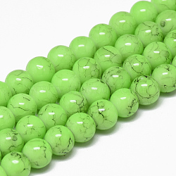 Spray Painted Glass Bead Strands, Round, LawnGreen, 8mm; Hole: 1.3~1.6mm; about 100pcs/strand, 31.4inches(X-GLAD-S075-8mm-23)