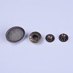 paramètres cabochon bouton pression alliage, avec des pièces en laiton (y compris bouchon, goujon et douille), bronze antique, 20x15x7 mm; plateau: 18x13 mm; 9~12x4~6.5 mm; 4 pcs / set(BUTT-WH0011-04AB)