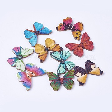 Wooden Buttons, 2-Hole, Dyed, Butterfly, Mixed Color, 20.5x28.2x2mm, Hole: 1.4mm(X-BUTT-WH0014-01)