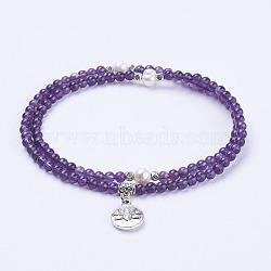 colliers de pierres précieuses, colliers double couche, avec perles acryliques et pendentif de style tibétain, lotus, <p> taille: environ 20 (51 cm de long, Perles: 4 mm et 7~8 mm, Pendentif: 16x13x3.5 mm.(NJEW-F173-01C)
