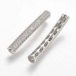 Brass Micro Pave Cubic Zirconia Tube Beads, Tube, Curved, Clear, Platinum, 31x6.5x5mm, Hole: 2mm(X-ZIRC-N025-60P)