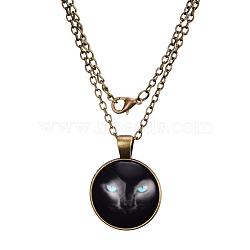 """Colliers avec pendentif plat rond avec motif de chat en verre, avec des chaînes d'alliage, bronze antique, 18""""(X-NJEW-N0051-014D-01)"""