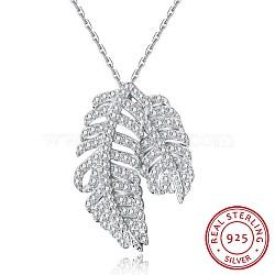 """Colliers avec pendentif en 925 argent sterling, avec zircons, plume, argenterie, 16.9"""" (43 cm), pendentif: 11x23 mm(NJEW-BB30226)"""
